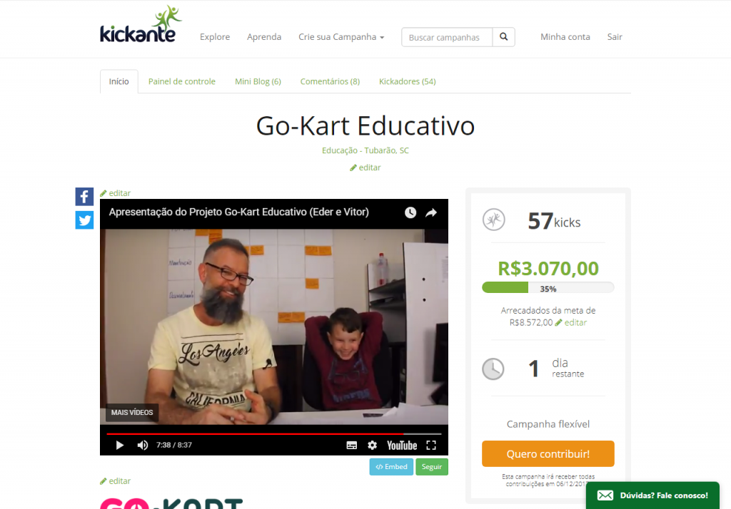 Campanha Go-Kart Educativo no Site Kickante